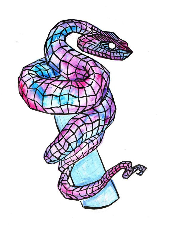 This is the same item, with colour re-adjustments. Geometric Snake in Gouche and Indian Ink. Available only in A3, with 3 colour choices. 1: