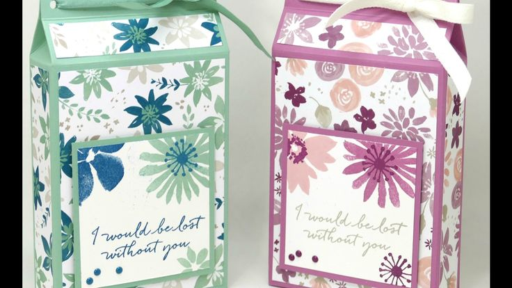 Tall Wide Box using Stampin' Up! Blooms & Bliss - YouTube