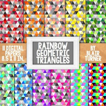Rainbow Geometric Triangles Backgrounds - 11 Digital Papers