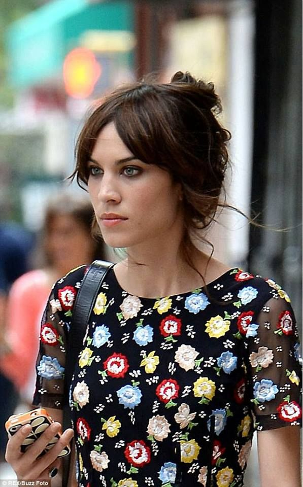 Alexa Chung, fashion, floral dress, up do, hairstyle, style, make up