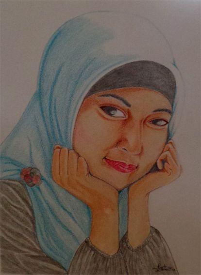 feti sumaryanti, feti xuyan, lukisan pensil, colored pencil drawing, lukisan wajah