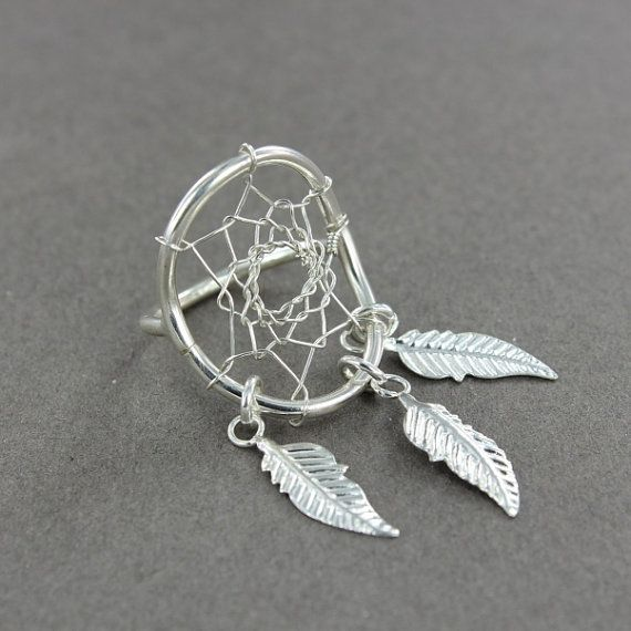 Dreamcatcher ring  Dream catcher ring  Feather ring  by lm6d