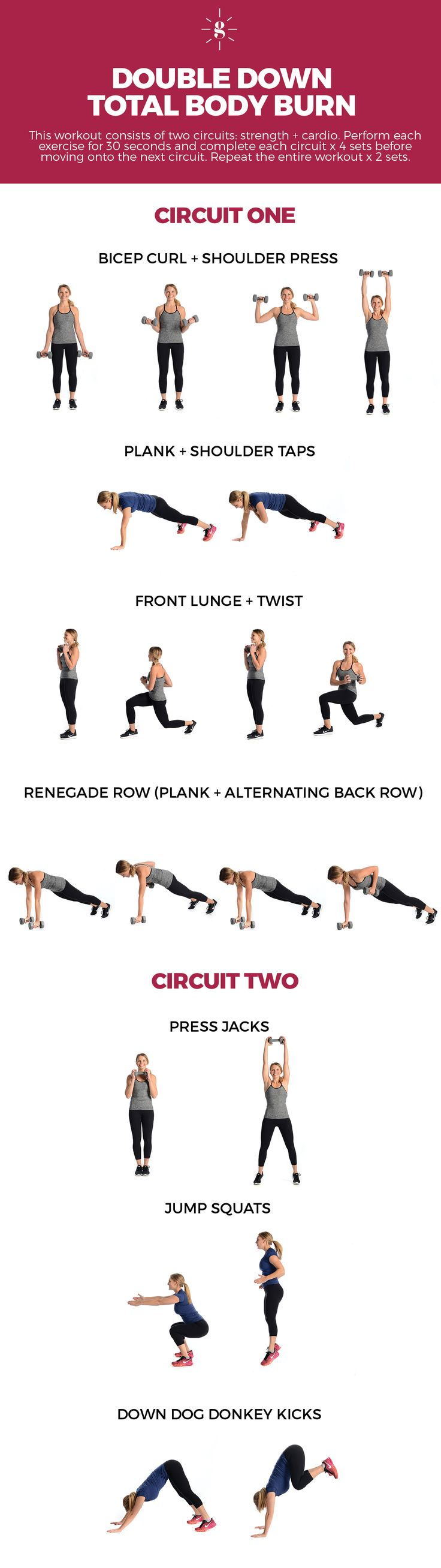 Get a full body workout in in just 30 minutes with this Double Down Total Body Burn Workout! It combines full body strength training with cardio so that you get the biggest bang for your buck all in under 30!