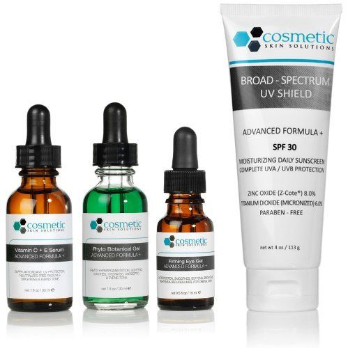 Vitamin C+E Serum + Phyto Botanical Gel + Firming Eye Gel + Broad-Spectrum UV Shield SPF 30 (4 oz / 113 g) Advanced Formula +. Prevent / Lighten & Hydrate / Firm Eyes / Protect - 4 combo pack - 1 fl oz / 30 ml each. by Cosmetic Skin Solutions LLC. Save 30 Off!. $116.95. Firming Eye Gel Advanced Formula + 0.5 fl oz / 15 ml - 5% Vitamin C, 0.5% Ferulic acid, and Hyaluronic acid. Protects, prevents, tightens, reduces lines for orbital area. This exceptional Firming Eye Gel deliver...