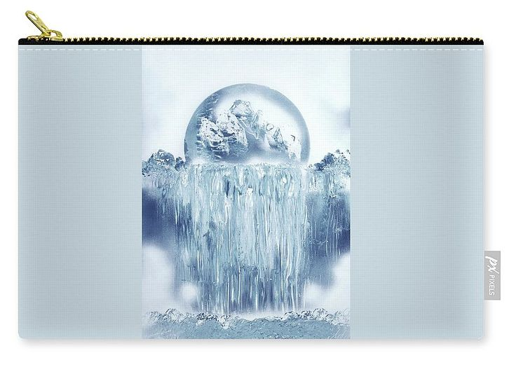 Ice Waterfall Carry-All Pouch Printed with Fine Art spray painting image Ice Waterfall Nandor Molnar (When you visit the Shop, change the size, background color and image size as you wish)