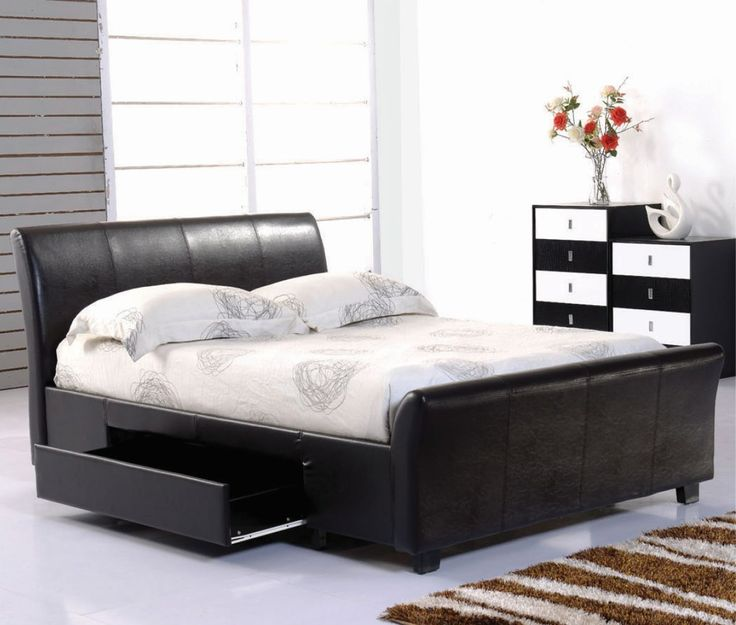 ascot faux leather storage bed frame