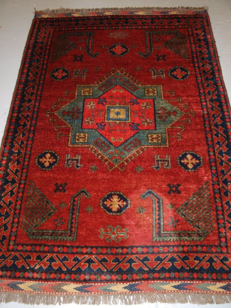 Old Afghan Rug With Caucasian Kazak Design About 30 Years