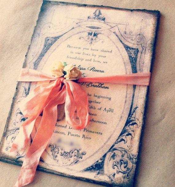 Wedding Invitations Peach Coral Gold Art Deco Chipboard. $6.50, via Etsy.