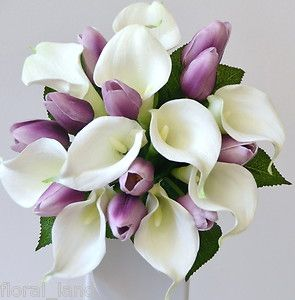 SUBSTITUTE CORAL FOR PURPLE  purple tulips wedding   Latex White Calla Lily Purple Tulip Wedding Bouquet Posy Flower Silk ...