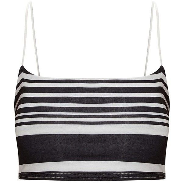 Monochrome Stripe Strappy Crop Top ($15) ❤ liked on Polyvore featuring tops, striped top, stripe top, strappy top, white striped top and spaghetti-strap tops