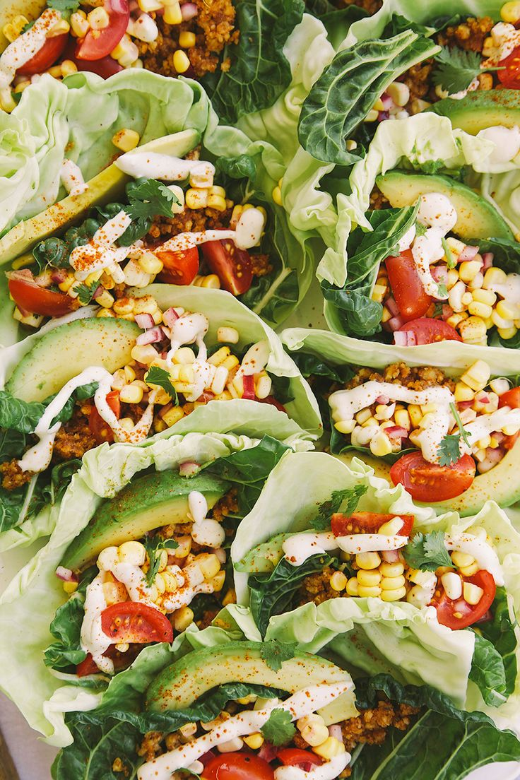 Raw + vegan tacos are super healthy with greens for wrapping, a spicy walnut mixture for protein, and creamy cashew sour cream.