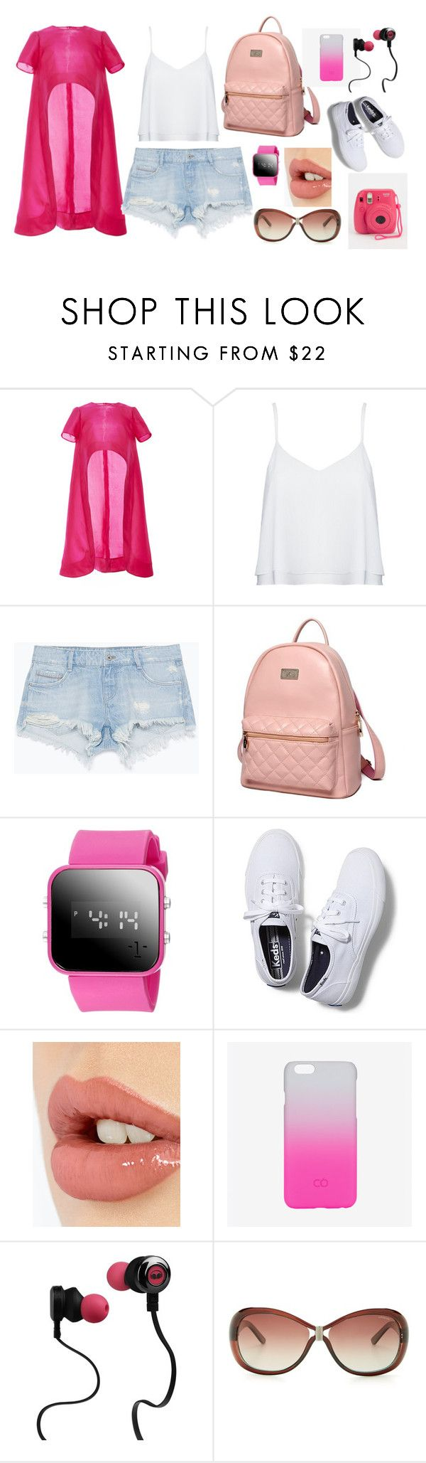 Softy Pink by dinyvia on Polyvore featuring Monique Lhuillier, Alice + Olivia, Zara, Keds, Princess Carousel, C6, Polaroid, Monster, Charlotte Tilbury and Pink
