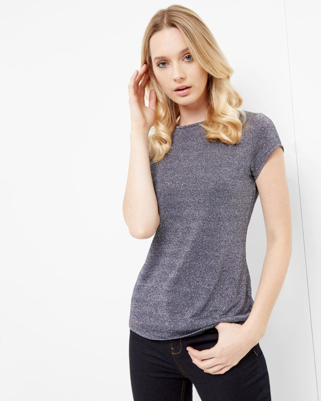 Sparkle fitted T-shirt - Navy | Tops & T-shirts | Ted Baker UK