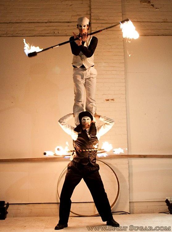 Fire staff + Fire Hoop  Photo by Spiltsugar