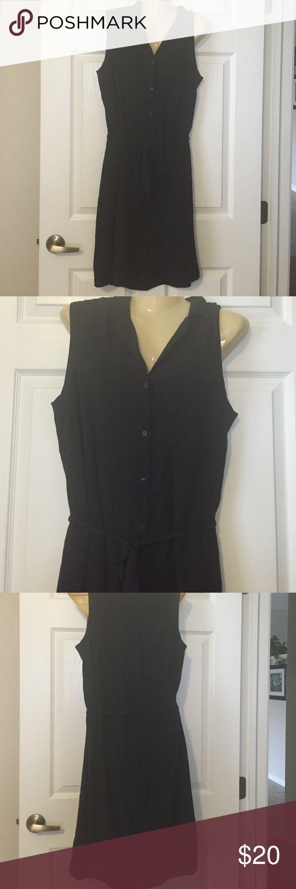 Loft black button down shirt dress Loft black button down shirt dress. Ties at the waist LOFT Dresses