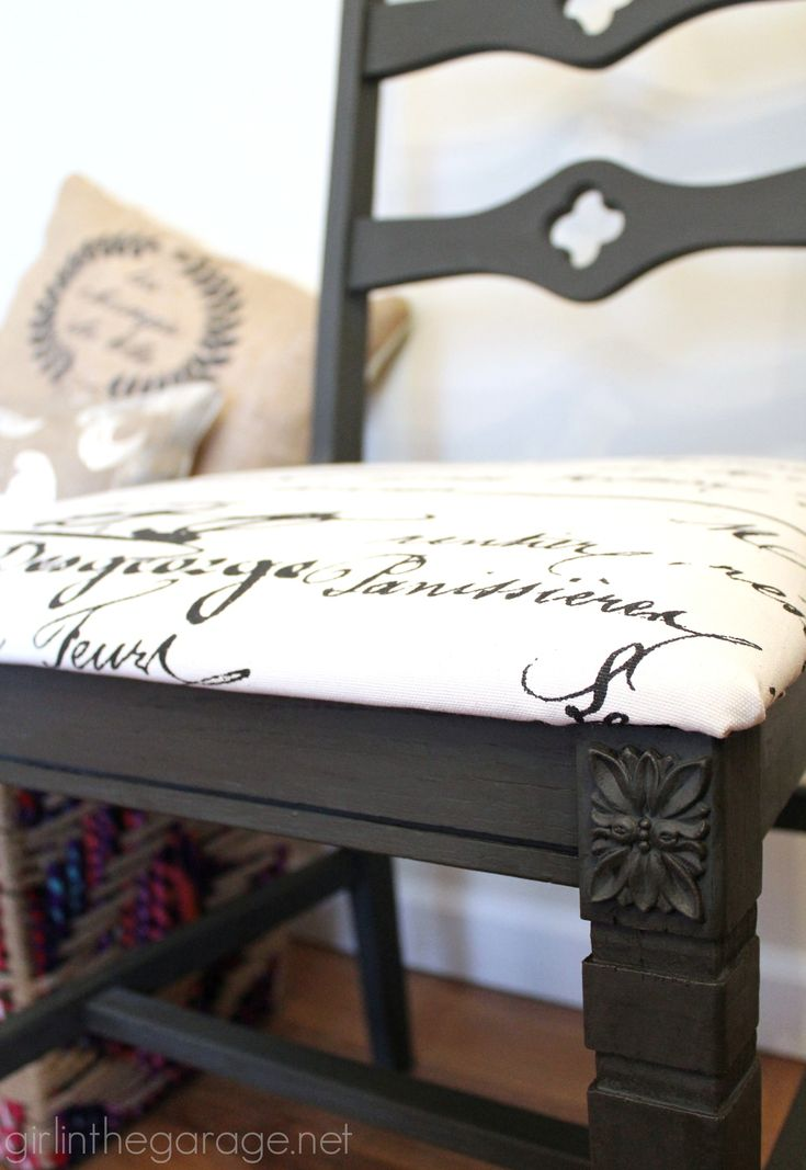 A Goodwill Chair Is Updated With Graphite Chalk Paint And New French  Fabric. Girlinthegarage.