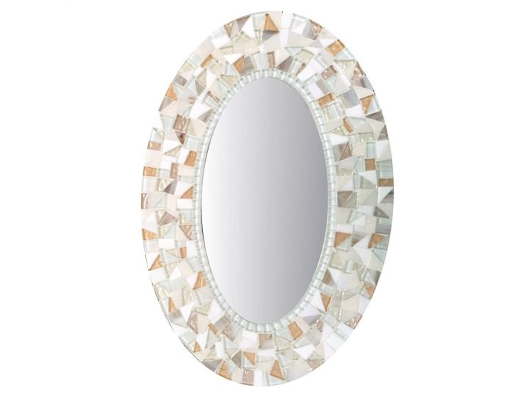 Oval Wall Mirror in White and Gold Mosaic by GreenStreetMosaics on Etsy https://www.etsy.com/listing/127698307/oval-wall-mirror-in-white-and-gold