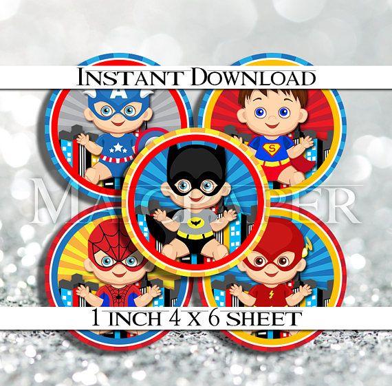 INSTANT DOWNLOAD Superheroes Super Heroes Baby Babies 4x6