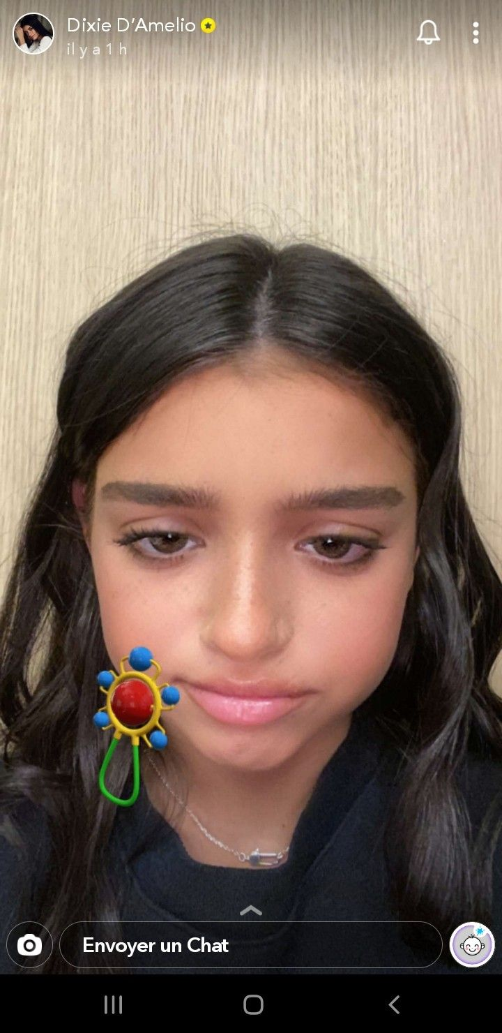 Dixie D Amelio On Snapchat Baby Filter Dixie Earrings Jewelry