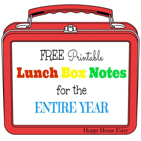 FREE Printable Lunch Box Notes for the ENTIRE YEAR! This is AMAZING! Includes all the major holidays! I love putting a little note in my kid...