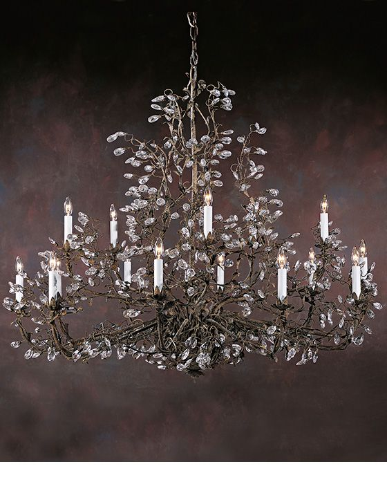 Large Burnished Hand Wrought Iron Chandelier With Swarovski Crystal Drops