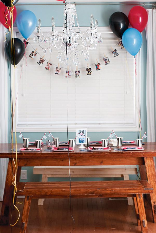 boy's sports birthday party table decorations