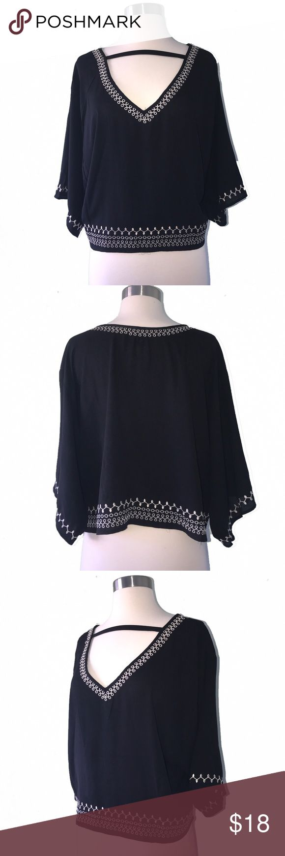 Monteau Embroidered Black + Silver Blouse Medium Black & silver Embroidered chiffon like Blouse by Monteau in size Medium. Excellent Condition. 100% polyester. Tops Blouses