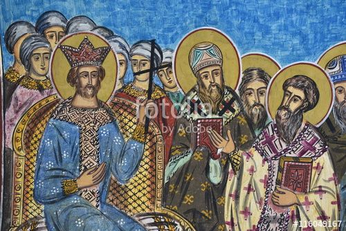 """Download the royalty-free photo """"Ecumenical Synod fresco, Radu Voda Monastery, Bucharest, Romania"""" created by Ciaobucarest at the lowest price on Fotolia.com. Browse our cheap image bank online to find the perfect stock photo for your marketing projects!"""