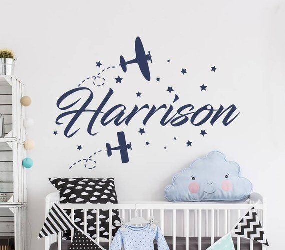 Boy Name Wall Decal Airplane Baby
