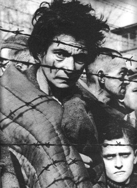 An Auschwitz survivor photographed during Soviet liberation