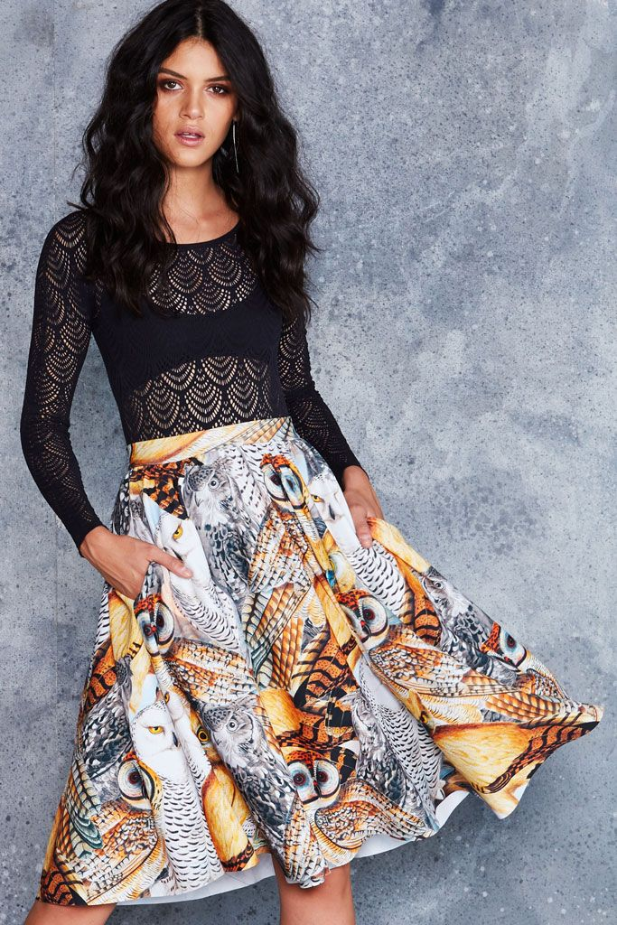 Audubon Owls Pocket Midi Skirt - 48HR ($120AUD) by BlackMilk Clothing