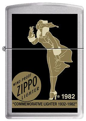 Zippo Commemorative Windy Lady Lighter 1932 – 1982 Zippo Lifetime Guarantee Windproof Made in USA State of affairs: NEW Description: Commemorative Windy Woman 1932-1982 End: Satin Chrome Dimension: extraOrdinary Packaging: Precise Zippo Packaging