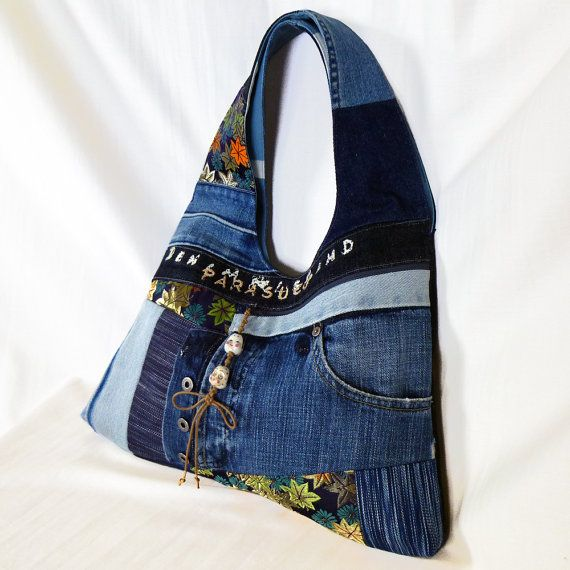 Recycled Old Jeans, Japanese Obi & Old Hand dyed Indigo by kazuewest, $99.00