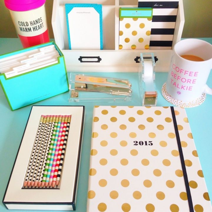 kate-spade-desk-accessories A cute desk makes it easier to work!