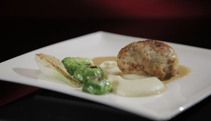 Rob and Dave's Stuffed Chicken Breast with Brussels Sprouts and Parsnip Purée