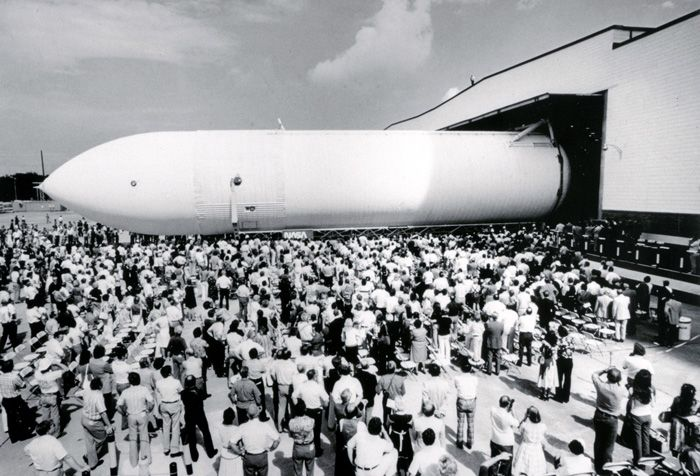 Space History Photo: The first Space Shuttle External Tank (ET), the Main Propulsion Test Article (MPTA), rolls off the assembly line on September 9, 1977 at Michoud Assembly Facility in New Orleans, Louisiana.