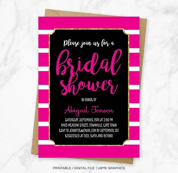 Hot Pink Bridal Shower Invitation Pink Striped Shower