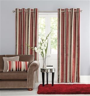Buy Luxury Velvet Stripe Eyelet Curtains from the Next UK online shop
