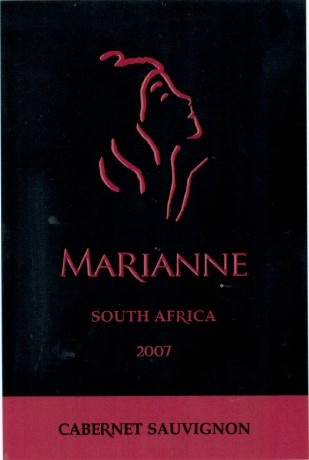 Wine.  Wine Label.  Marianne Estate Cab-Sauv 2007.    Intense fruit, full and ripe yet crisp and fresh.  What a balance!