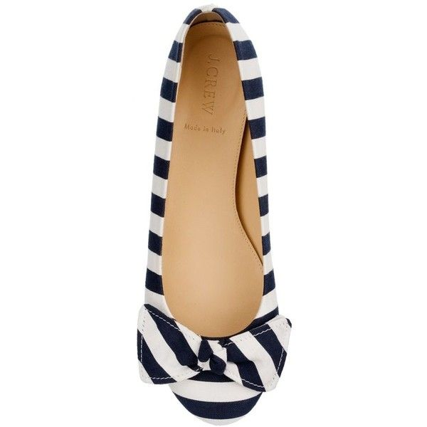 J.Crew Stripe ballet flats ($100) ❤ liked on Polyvore featuring shoes, flats, scarpe, sapatos, ballet shoes flats, striped flats, skimmer flats, ballerina flat shoes and ballet pumps