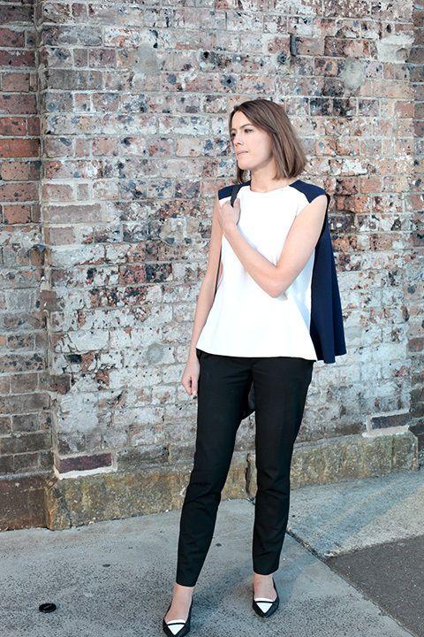 Anna Saunders, associate editor. Roksanda Ilincic top, Zara trousers, Country Road shoes, Mulberry bag.