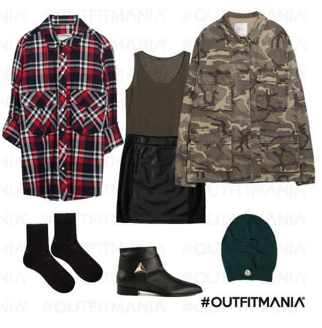 Cara Delevingne | Mini skirt in pelle, abbinata ad un giubbotto camouflage e una camicia tartan... |  #outfitmania #outfit #style #fashion #dresscode #amazing #cool #musthave #camicia #zara #scarpe #englishstyle | CLICCA SULLA FOTO PER SCOPRIRE L'OUTFIT E COME ACQUISTARLO