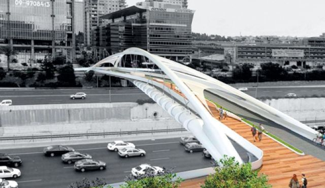 Planned Tel Aviv pedestrian and bike bridge Chen Architects
