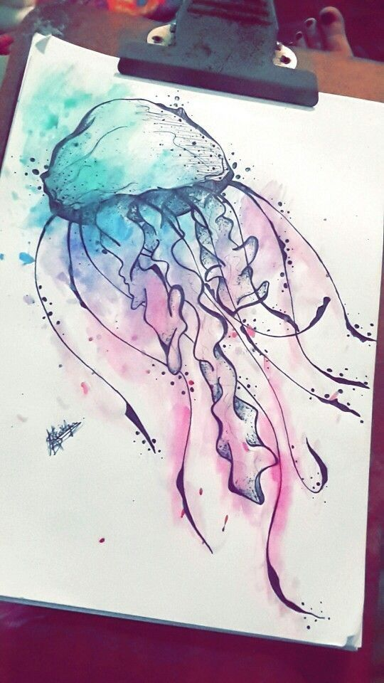 Black Line Jellyfish, painted with tattoo in black and pink watercolor #blac