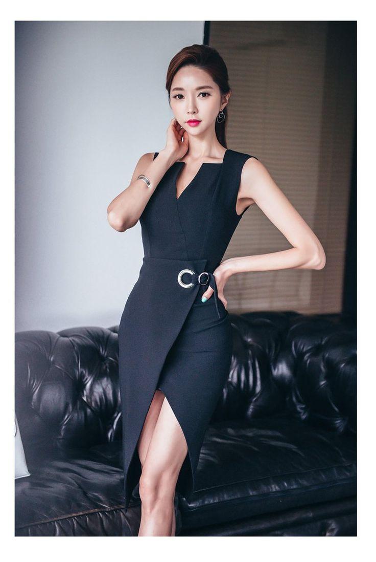 Elegant Women Dress V-neck split Tunic Bodycon Sheath Pencil Blazer Dresses