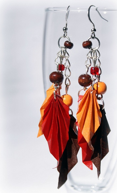 Autumn leaves - origami earrings by Mille gru di carta, via Flickr