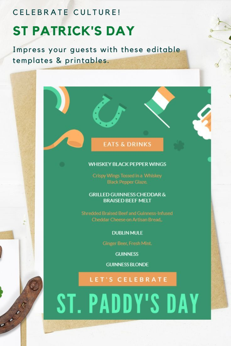 St. Patrick's Day Menu St. Paddy's Day Menu Template
