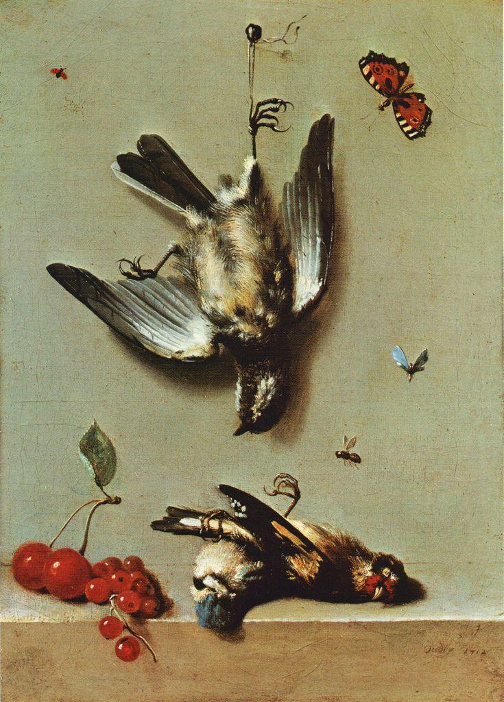 Jean-Baptiste Oudry - Nature morte avec oiseux morts et cerises