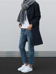 Grey scarf, white t-shirt, navy coat, blue jeans + Stan Smiths | @styleminimalism