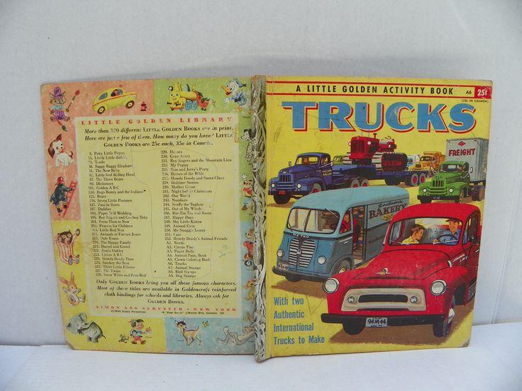 1955 Little Golden Book - A Little Golden Activity Book Trucks , Vintage Children's Picture Book , Bedtime Story , Pick-Up Truck , Trucks by ShersBears on Etsy